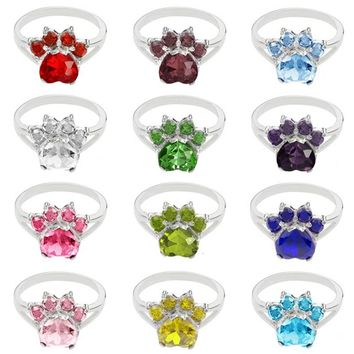 birthday jewelry Dog Animal Paw Print Birthstone Sterling Ring Pet Paw at The Animal Simple Fashion ring For Lovers