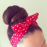 Red and White Polka Dot Dolly Bow Headband