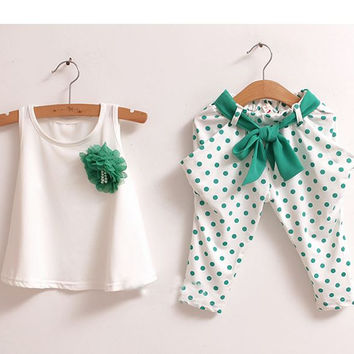 Girls Flower Outfit Vest + Trousers 2pc Set