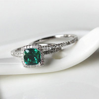 New Cushion Cut 6x6mm Treated Emerald Ring 14K White Gold Pave Diamond Ring/ Halo Engagement Ring/ Wedding Ring/ Anniversary Ring Sets