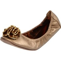 Wanted Shoes Women`s Dawn Ballerina Flat,Bronze,7 M US
