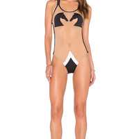 Pacific & Driftwood Le Chevalier D'Ca One Piece in Black & Nude Mesh | REVOLVE