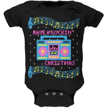 ICIK8UT Retro Boombox Music Have a Rockin' Ugly Christmas Sweater Soft Baby One Piece