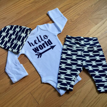 Baby boy going home set - Navy Tomahawk theme - hello world, baby shower gift, coming home outfit new baby going home outfit