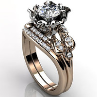 14k two tone rose and white gold diamond unusual unique flower engagement ring, wedding ring, engagement set ER-1087-8