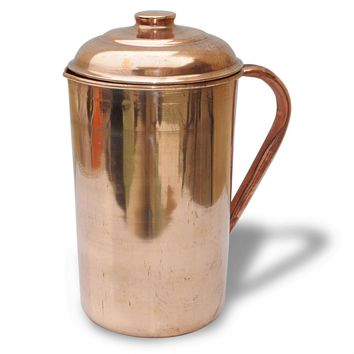2 Pure Copper Pitcher (in/ out) with cover 62 oz Jug Ayurveda Yoga Health