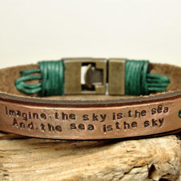 FREE SHIPPING - Mens Personalized Bracelet,Stamped Bracelet,Men's Leather Bracelet, Bronze Clasp,Copper Plate Personalized Bracelet
