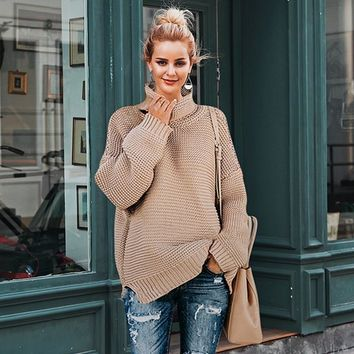 Drop sleeve turtleneck pullover knitted sweater