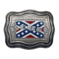 Crumrine Mens Confederate Rebel Flag Barb Wire Belt Buckle