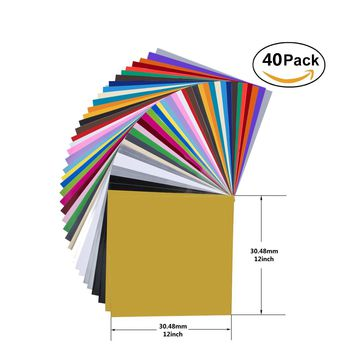 40 Pack 12'' X 12'' Premium Permanent Self Adhesive Vinyl Sheets-Assorted Colors (Glossy,Matt,Metallic and Brushed Metallic) for Cricut,Silhouette Cameo,Craft Cutters,Printers,Letters,Decals