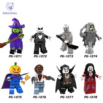 Single Sale Halloween The Horror Theme Movie Vampire Count Zombie Queen Akasha Jack Skellington Building Blocks Kids Toys PG8080