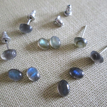 Delicate Tiny Oval Labradorite Stud Earrings on Stainless Surgical Steel Posts - 5mm x 7mm