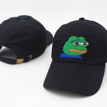 Black Sad Frog Meme Peaked Baseball embroidered cap Snapback Hat