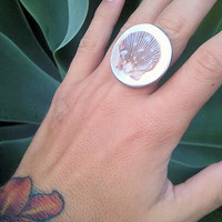 Hawaiian Pearl Pixie Shell Ring by shandahawaiiandesign on Etsy
