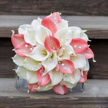 Artificial Calla Flower Wedding Bouquet Pink calla lily flowers 2 colours pearls bride bouquet wedding flowers bouque de novia
