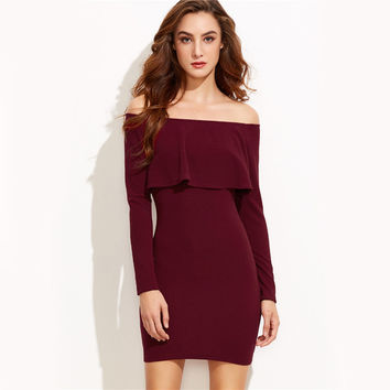 Long Sleeve Dress Burgundy