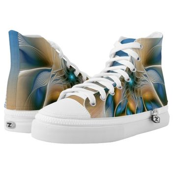 Soaring, Abstract Fantasy Fractal Art With Blue High-Top Sneakers