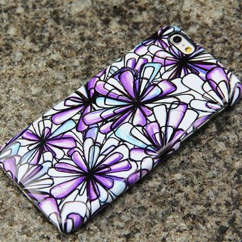 Purple Flowers iPhone 6s 6 Case Floral iPhone 6 plus Case iPhone 5S 5 iPhone 5C Samsung Galaxy S6 edge S6 S5 S4 S3 Note 2 Note 3 Case 020