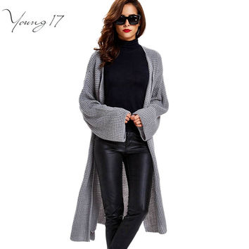 YOUNG17 AUTUMN WESTERN WOMEN CARDIGANS LONG HIGH QUALITY PINK KNITTED SWEATER FEMALE BLACK LOOSE LONG SWEATER GREY CARDIGAN