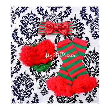 3 Piece Christmas set- Baby Girl Headbands,Baby Ruffle Bum Baby Bloomer Diaper Cover and red and green Leg warmers- Christmas Outfit- prop