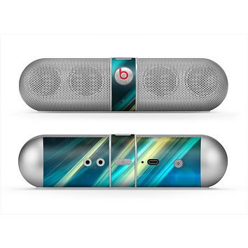 The Teal & Yellow Abstract Glowing Lines Skin for the Beats by Dre Pill Bluetooth Speaker