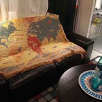 World Map Knitted Tapestry