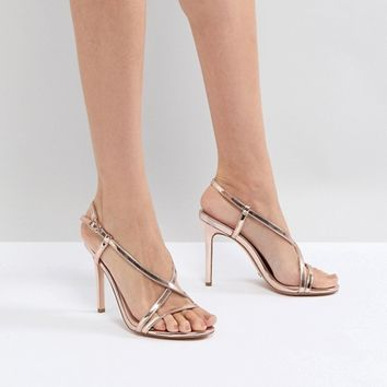 Dune Strappy Rose Gold Heeled Sandal at asos.com