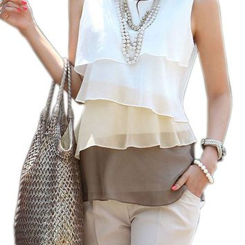 Women Casual Blouses Sleeveless Neck Flounce Tiered Chiffon Shirt Blusas Femininas Plus Size