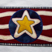 Penny Rug Wool Candle Mat Primitive Patriotic Star by Happy Valley Primitives SFCOFG