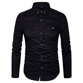 Men's Printed Casual Shirts Button Down Shirt-Cotton Long Sleeve Regular Fit Dress Shirt