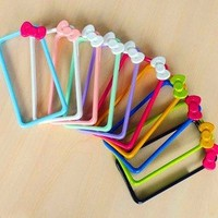 AT&T 9pieces/lot Bow-tie Premium Bumper Case with Kitty Style for Apple Iphone 4s