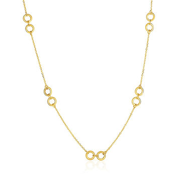 Double Ring Link Necklace in 14k Yellow Gold