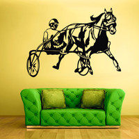 rvz481 Wall Vinyl Sticker Bedroom Decal Horse with Man Horserace