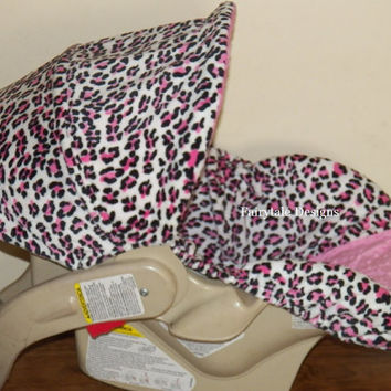 Infant Car Seat Cover Leopard and Hot Pink Minky