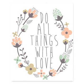 #DoAllThingsWithLove #instantdownload #inspirational #quote #typography #prints #posters #homedecor #collegedorm #printable #etsy