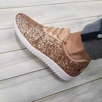 Sparkle Tennis Shoes - Rose Gold