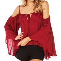 Red Spaghetti Strap Long Sleeves Blouse