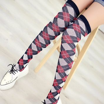 PEONFLY autumn wind hot British grid long tube full cotton knee socks Stocking Thigh High Thick fishnet stockings