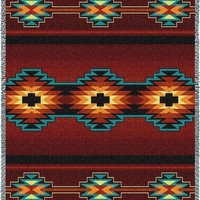 Southwest Geometric Deep Red  blanket throw