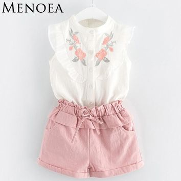 Summer Style Beautiful Floral Flower Sleeve Children Vest Clothing Shorts Suit With Belt 2 Pieces Clothes