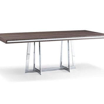 Egypto Dining Table walnut veneer top with high gloss white trim on two longest sides
