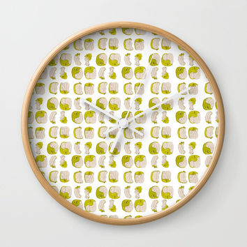 Eating process (Apple) // watercolor apple consumption Wall Clock by Camila Quintana S
