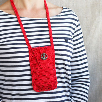 SALE Red phone case Nautical smartphone wallet with anchor button Woman travel accessory Gift idea