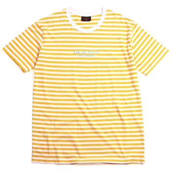 Gracious MFG. x Motivation Embroidered Striped T-Shirt Yellow / White