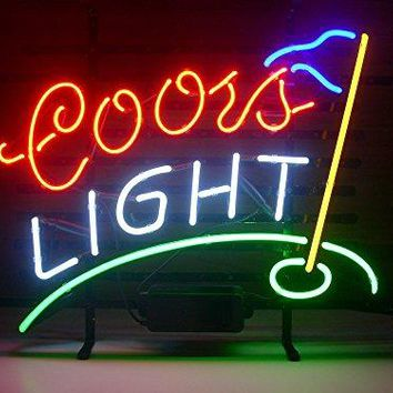 New Coors Light Golf Real Glass Neon Light Sign Home Beer Bar Pub Recreation Room Game Room Windows Garage Wall Sign L105 by AOOS