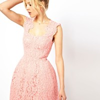 ASOS Cupped Structured Dress In Lace - Nude