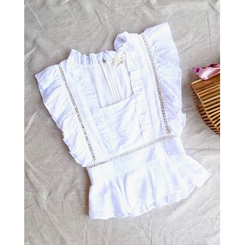 Honey Punch - Square Neck Top With Ruffle Detail in White