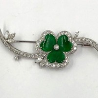 Vintage 18K White Gold Jade Diamond Clover pin Brooch 1.25cts