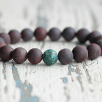 jasper bracelet men beaded bracelet birthday gift men accessories gemstone bracelet boho hipster jewelry boyfriend matte beads brown green
