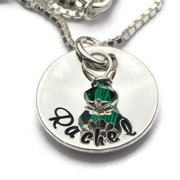 Girls Name and Birthstone Necklace
